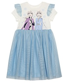 Toddler Girls Elsa Anna Dress with Mesh Skirt