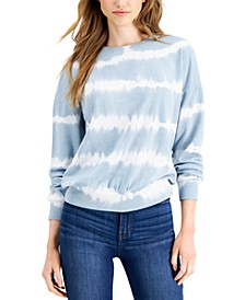 Juniors' Linear Tie-Dyed Sweatshirt