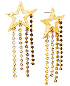 Gold-Tone Multicolor Crystal Cutout Star Statement Earrings