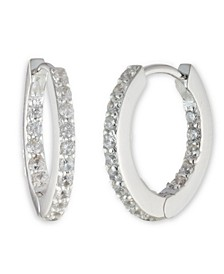 Sterling Silver and Cubic Zirconia Huggie Hoop Earring