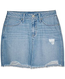 Juniors' Distressed Denim Mini Skirt