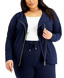 Plus Size Asymmetrical Zip Hoodie