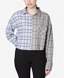 Juniors' Colorblocked Plaid Shirt