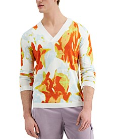 INC Men's Floral Patterned V-Neck Sweater, Created for Macy's
