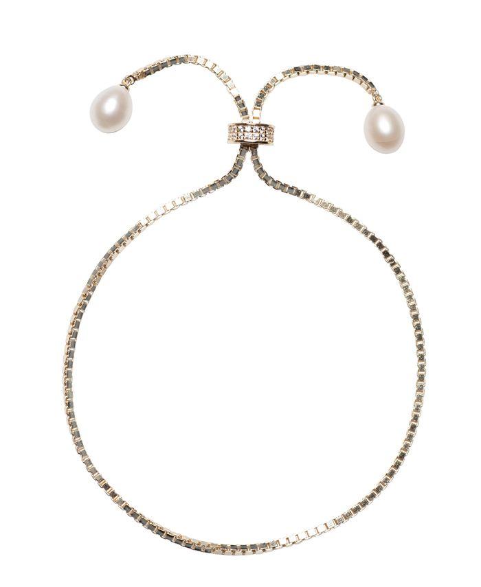 Macy's - Cultured Freshwater Pearl (7 x 9mm) & Cubic Zirconia Box Link Bolo Bracelet in Sterling Silver