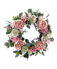 Valentine's Day Ombré Rose & Vine Artificial Wreath, Created for Macy's