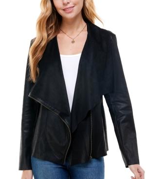 Juniors' Faux-Suede Asymmetrical Zip-Front Jacket