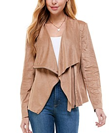 Juniors' Faux-Suede Asymmetrical Zip-Front Jacket