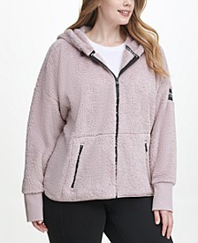 Plus Size Fleece Zip-Front Hooded Jacket