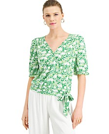 INC Printed Tie-Front Surplice Top, Created for Macy's