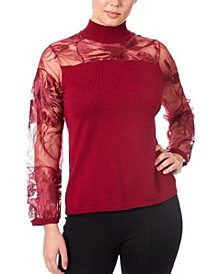 Joseph A Women's Mixed Media Illusion Sweater