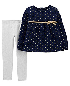 Toddler Girls Heart Fleece Top and Legging Set, 2 Piece