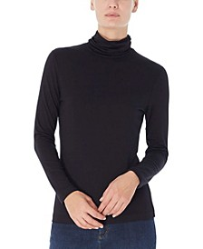 Women's Long Shirred Neck Pullover Top
