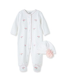 Baby Girls Floral Footie with Hat