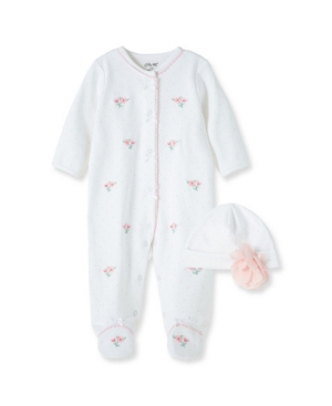 LITTLE ME BABY GIRLS FLORAL FOOTIE WITH HAT
