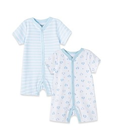 Baby Boys 100% Organic Cotton Elephant 2 Pack Romper