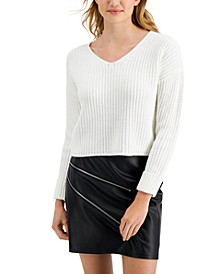 V-Neck Cuffed-Sleeve Sweater, Created for Macy's