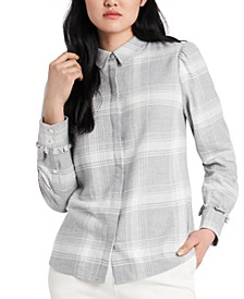Nina Plaid Flannel Shirt, Created for Macy's