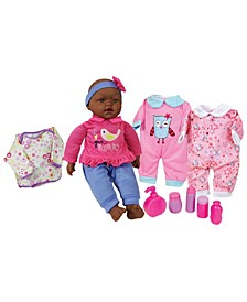 """Lissi Dolls 15"""" African American Baby Doll Set with Clothes and Accessories"""