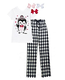 Little Girls Penguin Graphic Pajama Set