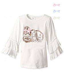 Little Girls Bunny Graphic Ruffle Top