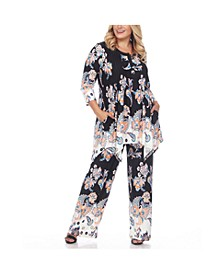Women's Plus Size Paisley Printed Head to Toe Printed Set