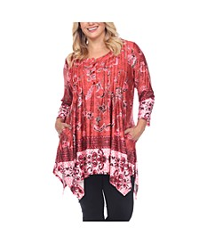 Women's Plus Size Victorian Print Tunic Top with Pockets
