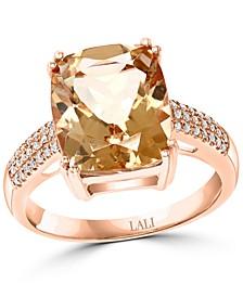 Morganite (4-3/4 ct. t.w.) & Diamond (1/8 ct. t.w.) Statement Ring in 14k Rose Gold