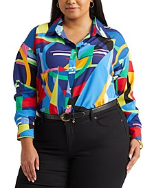 Plus Size Geometric Print Top