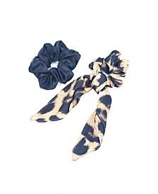 Leopard Bow Scrunchie and Hair Super Scrunchie Set of 2