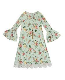 Little Girls Printed Rib Knit Dress