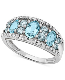 Blue Topaz (1-1/4 ct. t.w.) & Diamond (1/10 ct. t.w.) Ring in 14k White Gold