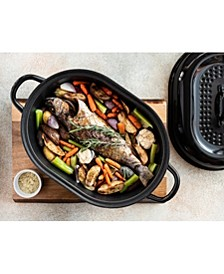 """16"""" Nonstick Titanium and Diamond Infused Round Roaster Pan with Lid"""