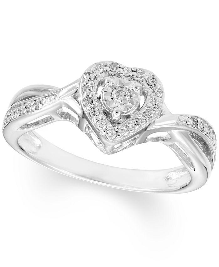 Macy's - Diamond Heart Ring (1/8 ct. t.w.) In Sterling Silver