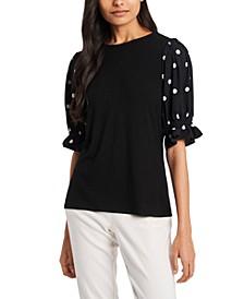 Puffed-Sleeve Polka-Dot Top, Created for Macy's
