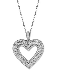 "Diamond Heart 18"" Pendant Necklace (1-1/2 ct. t.w.) in 10k White Gold"