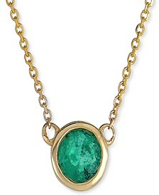 """Emerald Bezel 18"""" Pendant Necklace (1/2 ct. t.w) in 10k Rose Gold (Also in Ruby & Sapphire)"""