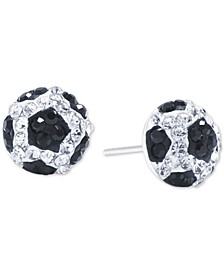 Crystal Soccer Ball Stud Earrings in Sterling Silver, Created for Macy's