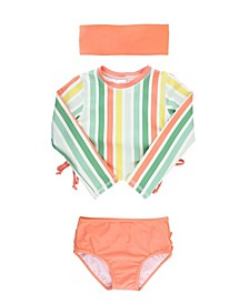 Baby Girls Cropped 2-Piece Rash Guard Swim Headband Set