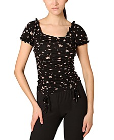 Juniors' Puff-Sleeve Ruched Top
