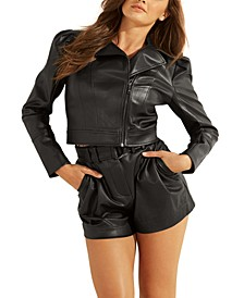 Oxford Cropped Faux-Leather Jacket