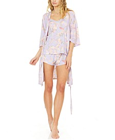 Kate Robe, Cami & Tap Shorts Pajama Travel Set