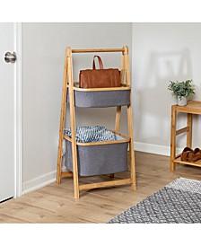 Bamboo & Canvas 2-Tier Collapsible Shelves