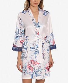 Corinne Satin Floral-Print Wrap Robe