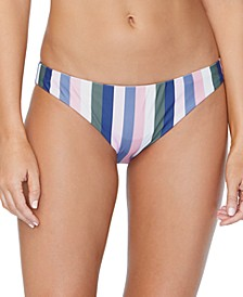 Juniors' Chasing The Sun Striped Lowrider Bikini Bottoms