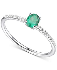 Emerald (1/3 ct. t.w.) & Certified Diamond (1/20 ct. t.w.) Ring in Sterling Silver (Also in Ruby & Sapphire)