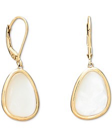 Mother of Pearl Abstract Bezel Set Triangle Leverback Drop Earring. Designed in 18k Gold Over Sterling Silver