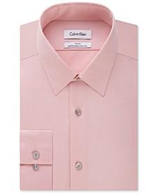 Men's Slim Fit Non Iron Performance Herringbone Point Collar Dress Shirt