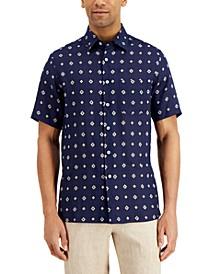Men's Regular-Fit Geo Tile-Print Linen Shirt, Created for Macy's