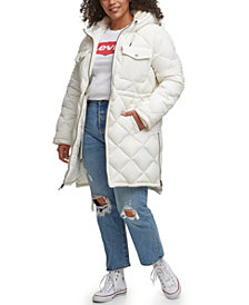 Levi's® Trendy Plus Size Diamond-Quilted Hooded Long Parka Jacket